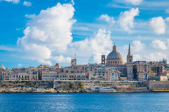 Valletta, Valletta skyline with the St. Pauls Cathedral and Charmelite Church in sunny day Royalty Free Stock Images
