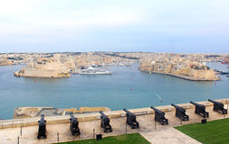 Valletta: view from the Upper Barraka Gardens to the Grand Harbo Royalty Free Stock Image