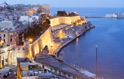 Valletta visto da bateria de saudação imagem de stock royalty free
