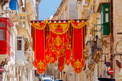 valletta Vlaggen op de dag van St Augustine Royalty-vrije Stock Foto