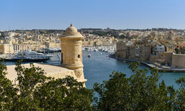 Valletta watchtower, Grand harbour. Watchtower and fort St. Angelo in Grand Harbour of Valletta, Malta Stock Photography