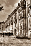 Valletta Waterfront, also known as Pinto Wharf, is a baroque wharf in Floriana, Malta, HDR sepia tone vertical. Malta - 17 Jan 2016: Valletta Waterfront, also Stock Photo