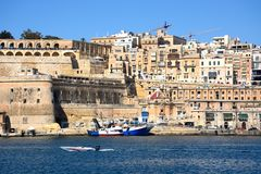 Valletta waterfront buildings and harbour, Malta. Stock Images