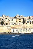 Valletta waterfront buildings and harbour, Malta. Royalty Free Stock Images