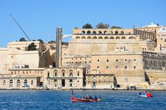 Valletta waterfront buildings, Malta. Royalty Free Stock Images