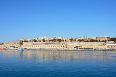 Valletta city buildings and harbour, Malta. Royalty Free Stock Photography