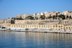 Valletta waterfront buildings and harbour, Malta. Royalty Free Stock Photo