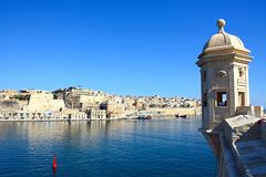 Valletta waterfront, Malta. View of Valletta waterfront seen from the Gardjola Gardens with a bastion in the foreground, Senglea, Malta, Europe Stock Photography
