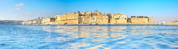 Vallettahaven in de ochtend, Senglea-schiereiland in ochtend ligh Royalty-vrije Stock Foto's