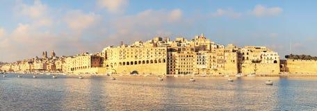 Vallettahaven in de ochtend, Senglea-schiereiland in ochtend ligh Royalty-vrije Stock Foto