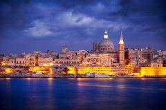 Vallettahorizon bij Zonsondergang, Malta Royalty-vrije Stock Foto