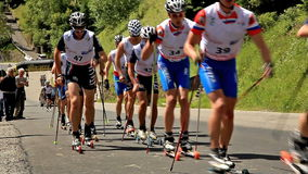 VALLEVE, ITALY - JUNE 30: SKIROLL WORLD CUP VALBRE stock footage