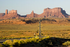 Into the valley. The highway leading into Monument Valley at dawn Stock Images
