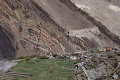 Valley agriculture - Nepal. Arable land adjacent to river Stock Images