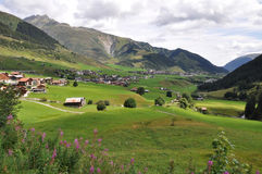 Valley in Alps. Village in valley in Alps royalty free stock image