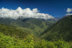 Valley in Andes. Picturesque green valley in Andes mountains in Bolivia on Choro trek royalty free stock photos