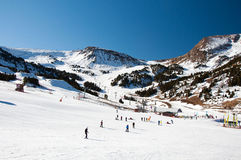 Valley of Andorra. People skiing in the snow in Andorra, Tartar Stock Image