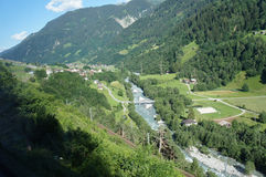 In the valley of the Anterior Rhine Stock Photography