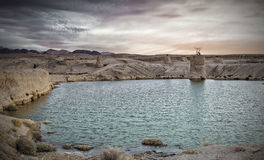 Valley of Arava desert after rain, Israel. The image was taken after unusual tropical rain in desert southern area of Israel Stock Photos
