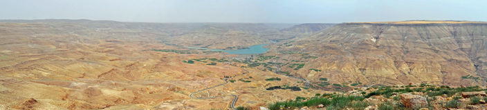 Valley of the Arnon. Panoramic view of the Arnon Valley in Jordan stock photo