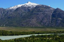 The valley of Baker River, a glacial river in Southern Chile's Patagonia. The Baker River is a river located in the Aysen Region of the Chilean Patagonia royalty free stock photos
