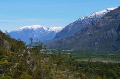 The valley of Baker River, a glacial river in Southern Chile's Patagonia. The Baker River is a river located in the Aysen Region of the Chilean Patagonia royalty free stock photography