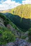 Valley of the balea stream in fagaras mountains. View from the rocky cliff on a steep slope. forested hillside in the distance. popular travel destination of stock photography