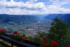 The valley basin of Meran in South Tyrol, Italy Royalty Free Stock Images