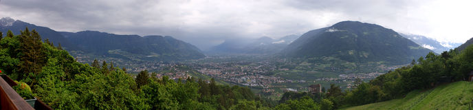 The valley basin of Merano, Italy Stock Photos