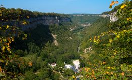 Valley of Baumes-les-Messieurs in France. View to the valley of Baumes les Messieurs in the french Jura region royalty free stock images