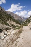 Valley of Bhagirathi (Ganga) river. View onto valley of Bhagirathi river (which later becomes Ganga river) and Gangotri place from trek to Gomukh. India Stock Photos