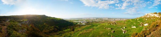 Valley of Bingemma. Panoramic view of Bingemma Valley looking towards Mgar, Malta Royalty Free Stock Photo