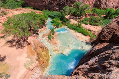 Valley of the blue water Havasu falls, Grand Canyon, Arizona stock photography