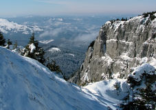 Valley in Carpathian Mountains. (Ceahlau ridge) in february days Stock Photos