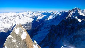 View from Aguille du Midi, France. Valley of Chamonix, France holiday Royalty Free Stock Image