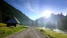 Valley Chocholowska at sunrise in summer, Tatra Mountains, Poland. Valley Chocholowska at sunrise in summer, Tatra Mountains in Poland stock video footage