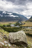 The valley of Chulyshman river. View to the valley of Chulyshman river on the way to Mushroom rocks, Altai Royalty Free Stock Photo