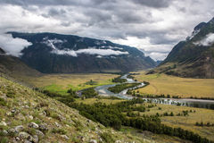 The valley of Chulyshman river. View to the valley of Chulyshman river on the way to Mushroom rocks, Altai Stock Image