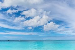 Valley Church Beach at Antigua and Barbuda island. Beautiful marine view on tropical caribbean beach with turquoise water under blue sky and clouds at sunny day stock images