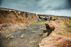 Valley and cliffs in Lanzarote Island Stock Photo