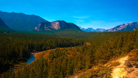 Valley color sky tunnel mountain. Valley tree Banff sky color summer river Royalty Free Stock Images