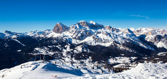 The valley of Cortina from the peak of Faloria Royalty Free Stock Photos