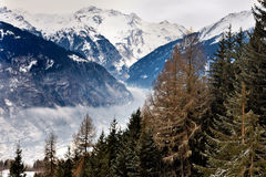 Valley of Courchevel. Mist in the valley of Courchevel, France Royalty Free Stock Photos