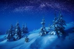 WInter forest at night. The valley covered with fresh snow in a moonlight. Milky way in a starry sky. Christmas and New Year winter night Royalty Free Stock Photo