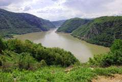 Valley and Danube river. River Danube on frontier between Romania and Serbia Stock Images