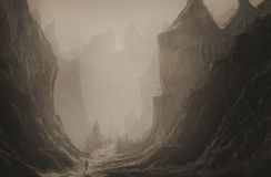 Valley of death. Surreal painting of a man walking through an ominous valley Royalty Free Stock Images