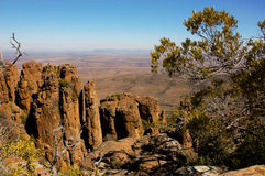 Valley of Desolation in Camdeboo National Park. Near the Karoo town of Graaff-Reinet in South Africa. Striking geology characterised by pillars of dolerite rock royalty free stock image