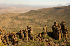 Valley of Desolation in Camdeboo National Park. Near the Karoo town of Graaff-Reinet in South Africa. Striking geology characterised by pillars of dolerite rock stock photo