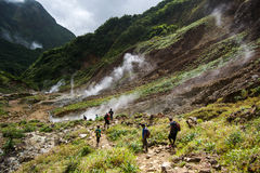 Valley of Desolation in Dominica. Volcanic valley on the island of dominica during the boiling lake hike while walking through the valley of desolation royalty free stock images