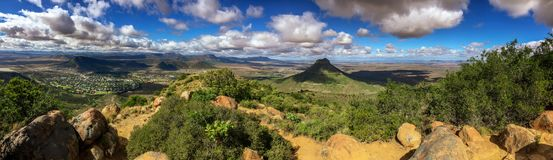 The Valley of Desolation in the Karoo. A panoramic view of the Valley of Desolation outside the town of Graaff-Reinet in the Karoo, South Africa royalty free stock image
